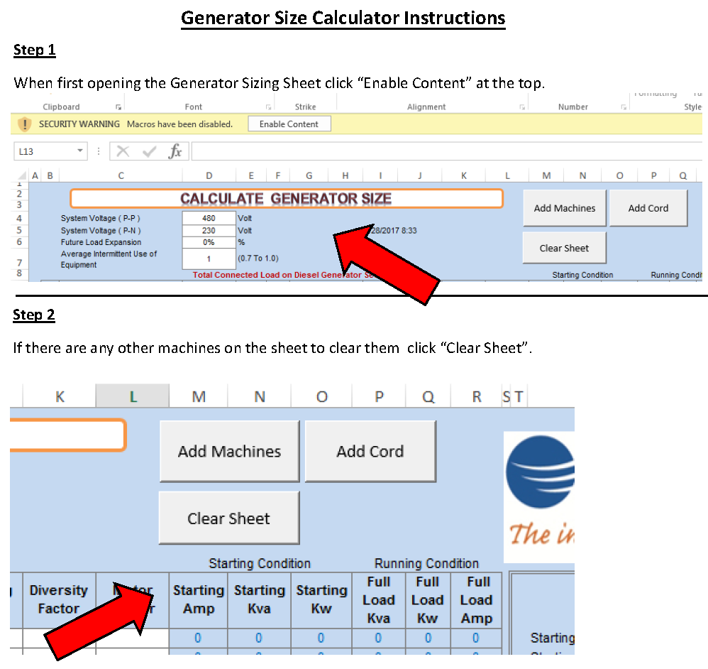 Generator Size Calculator Steps